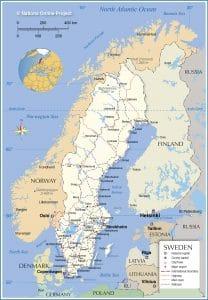 خريطة السويد